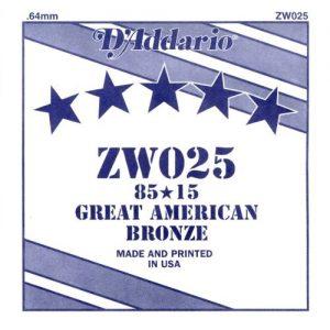 D'ADDARIO ZW025 – Pojedinačna žica za akustičnu gitaru